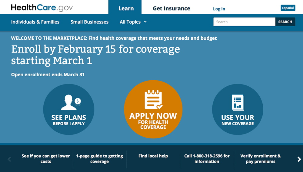 This screen image shows the homepage of HealthCare.gov website.