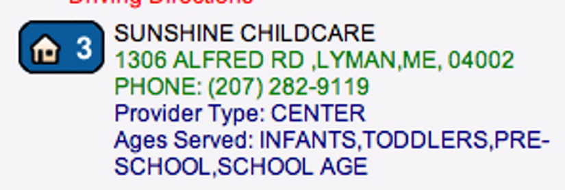 A screen grab from the state website Child Care Choice shows Sunshine Child Care and Preschool in Lyman had the site's second-best rating.