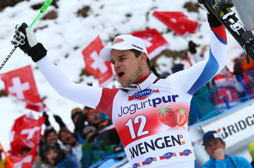 Switzerland's Patrick Kueng celebrates after winning in front of his countrymen on Saturday.