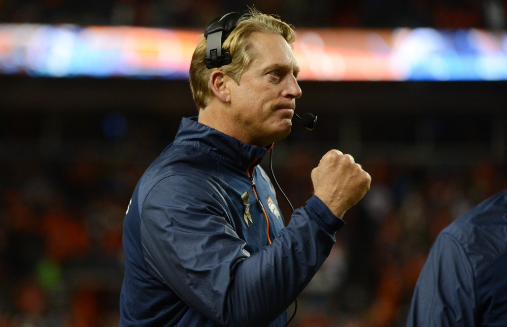 Defensive coordinator Jack Del Rio of the Denver Broncos is 0-7 in his career against the New England Patriots. He was the interim head coach when the Broncos lost a 24-0 lead and were beaten by the Patriots in December.