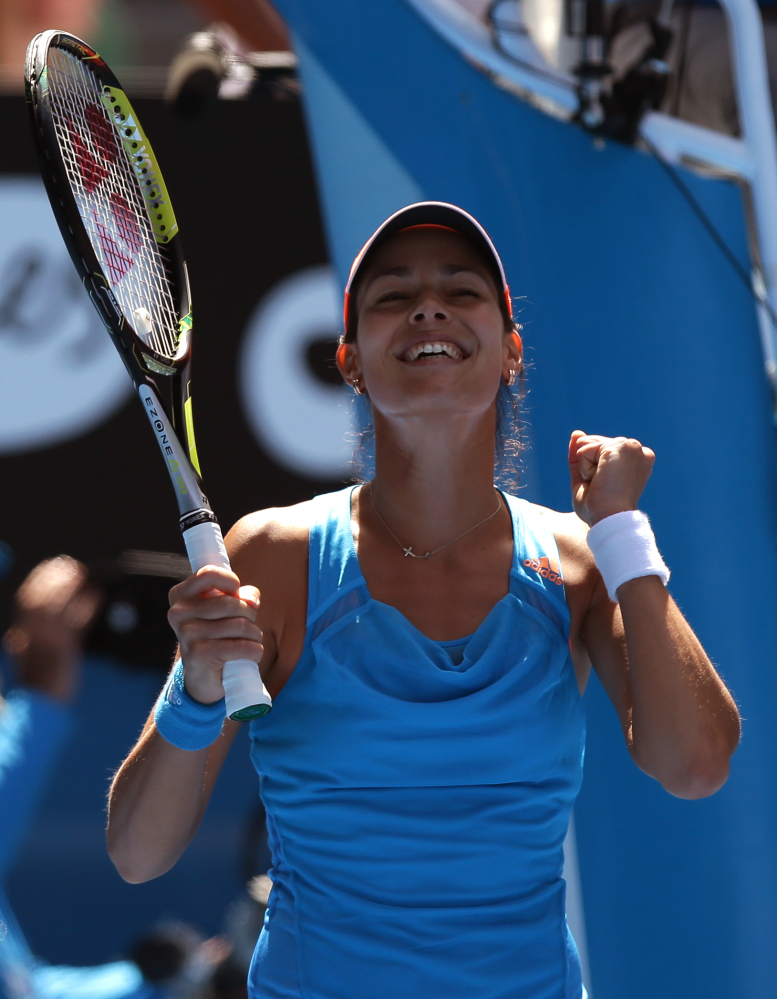 The Associated Press Ana Ivanovic celebrates her win over Serena Williams in their fourth round at the Australian Open ton Sunday.