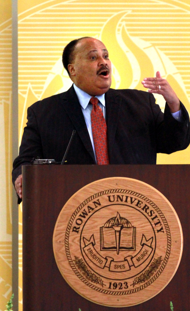 Martin Luther King III, son of Martin Luther King Jr., speaks at Rowan University in Philadelphia on Monday.