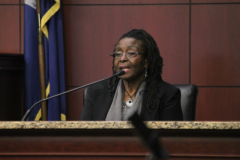 Katherine Stinney Robinson, 79, testifies during the hearing Tuesday at the Sumter (S.C.) County Judicial Center in Sumter, S.C. Robinson is the sister of George Stinney, whose family insists had nothing to do with the killings.