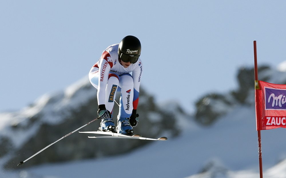 Switzerland Lara Gut competes during an alpine ski World Cup women's downhill, in Altenmarkt Zauchensee, Austria, Saturday, Jan. 11 , 2013.