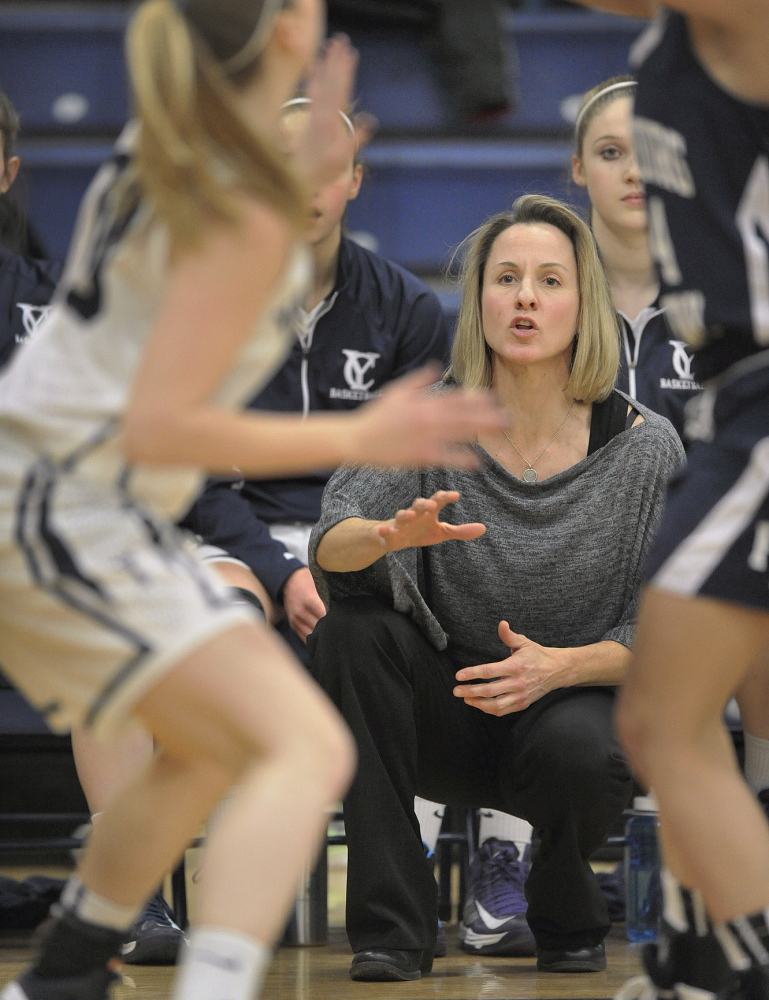 Chris Strong, a former University of Maine player who owns a fitness training center, never lost her love of basketball or competition, and is devoting whatever time is needed to help the Yarmouth girls.
