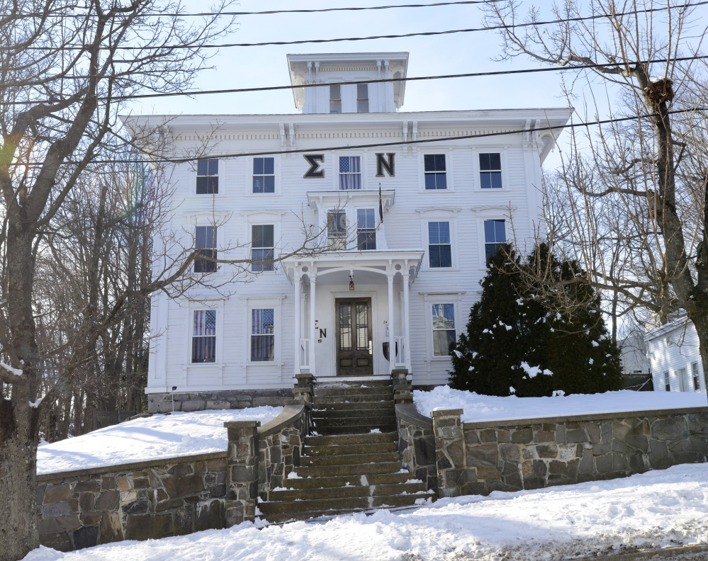 The Sigma Nu fraternity house at 24 School St. in Gorham was searched by police on Thursday, following a four-hour standoff with a University of Southern Maine student Wednesday night.