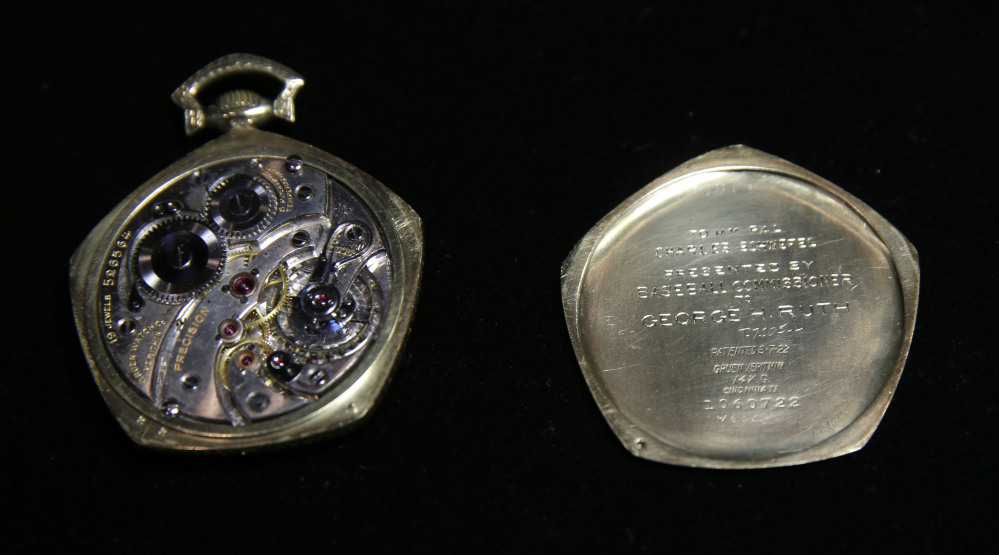 The workings of a pocket watch that was given to Babe Ruth in 1923 are displayed at Heritage Auctions office in Dallas.
