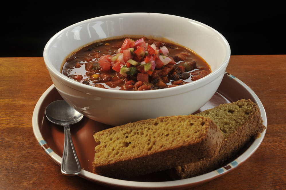 Three bean vegetarian chili from the Pepper Club in Portland.