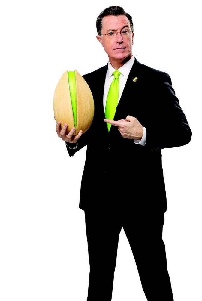 This image of Stephen Colbert is taken from Wonderful Pistachios' 2014 Super Bowl ad. Advertisers that have traditionally focused on skimpily clad models and sophomoric humor are promising more sedate ads this year.
