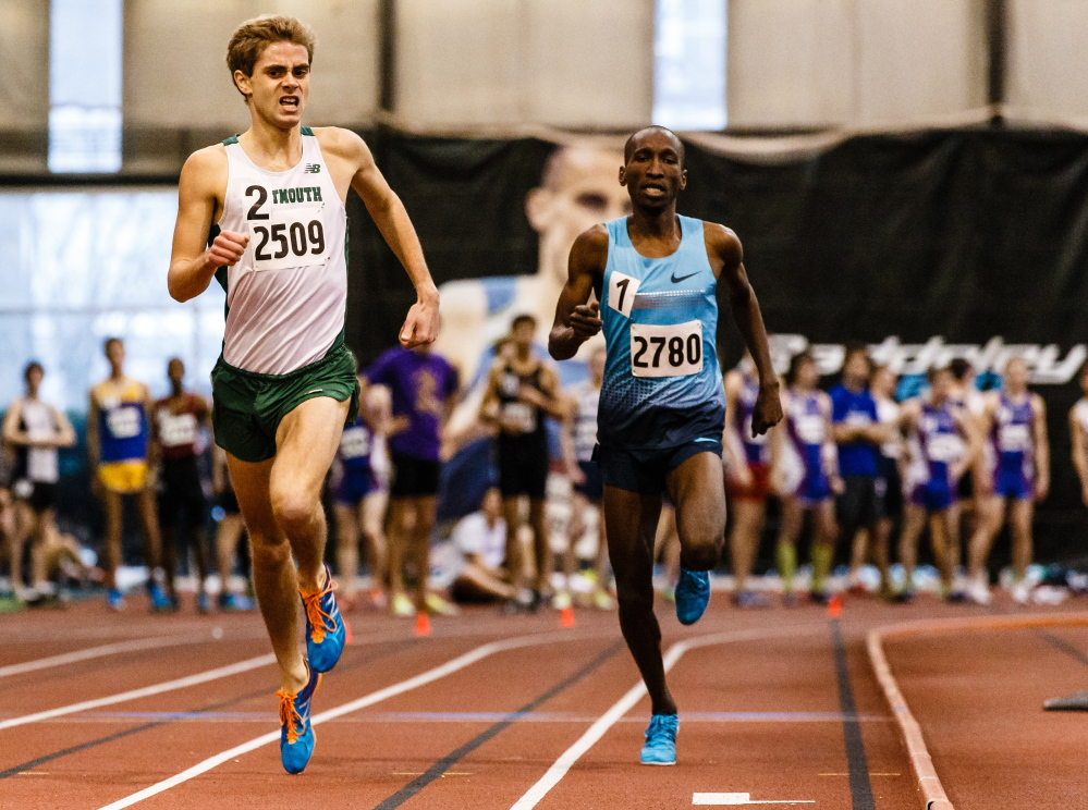 Senior Will Geoghegan, left, shown winning the mile at the Dartmouth Relays, broke Dartmouth's all-time record in the mile last weekend in Boston, finishing in 3:58.04.
