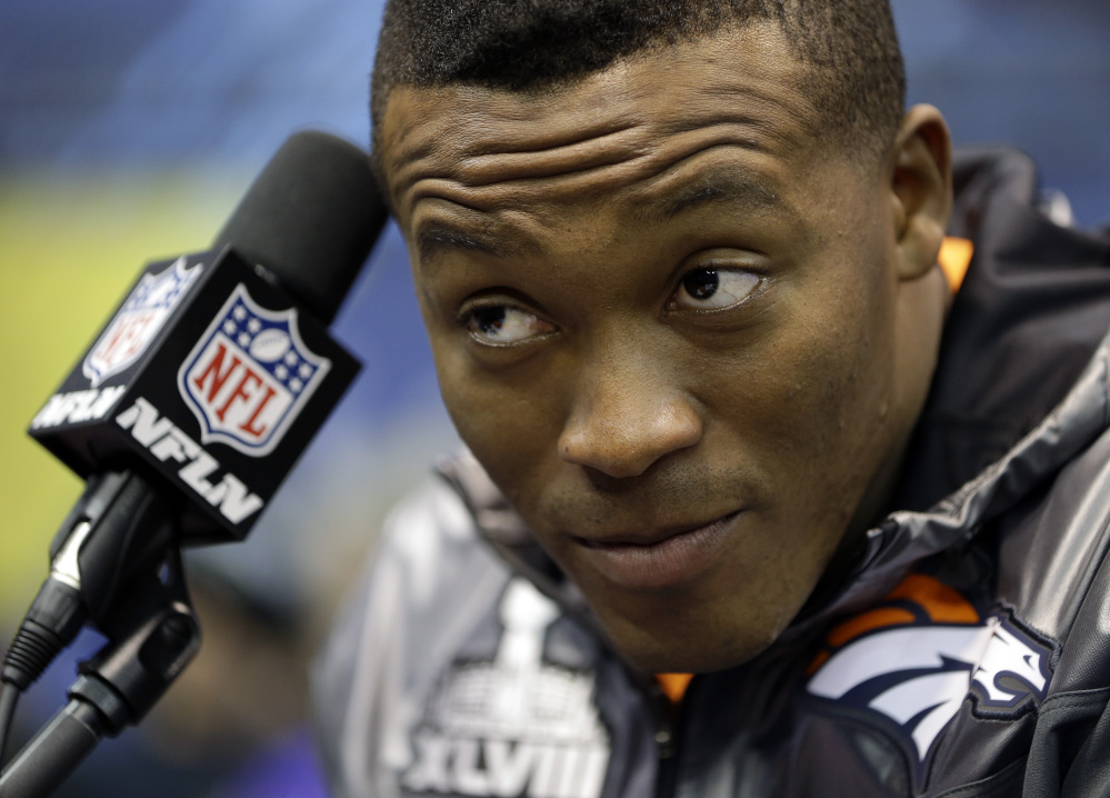 Denver Broncos wide receiver Demaryius Thomas talks with reporters Thursday in Jersey City, N.J.