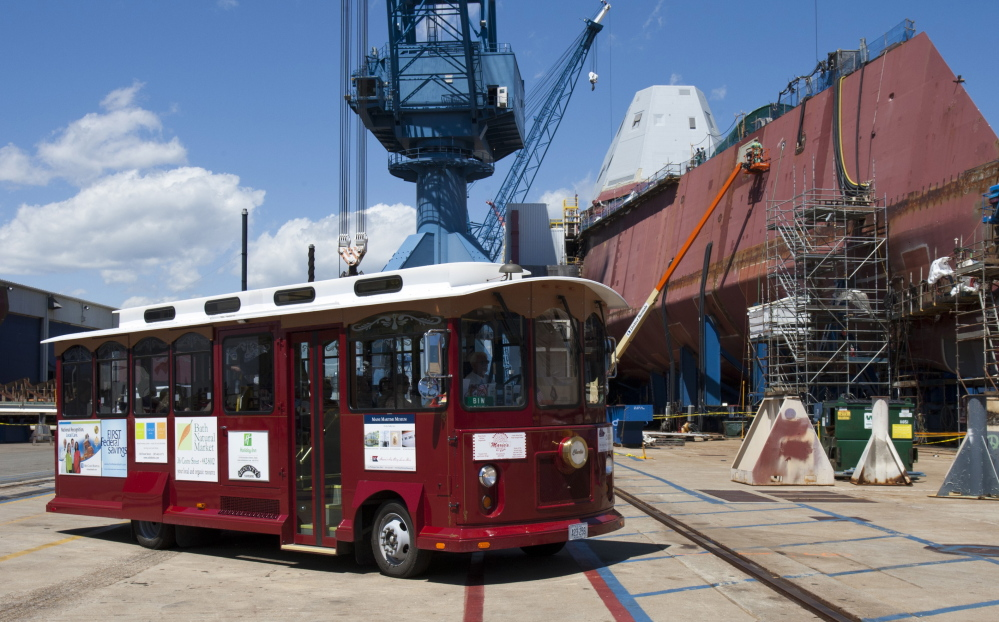 Maine Maritime Museum's trolley tour of Bath Iron Works won't be offered this summer. The shipyard cited safety and security concerns as it builds four destroyers and a new hall.
