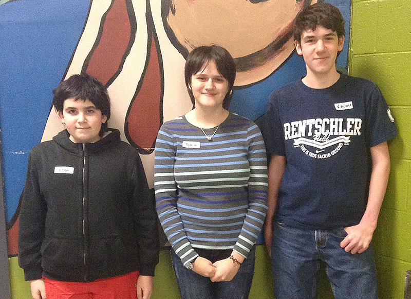 Winners of the recent spelling bee at Saco Middle School are (from left) second runner-up Caden Falardeau, grade six; first runner-up Sara McInnis-Misenor, grade eight; and winner Vincent Falardeau, grade eight.