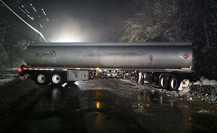 Route 25 in Cornish was shut down for nine hours after a fuel tanker jackknifed across it late Saturday night.