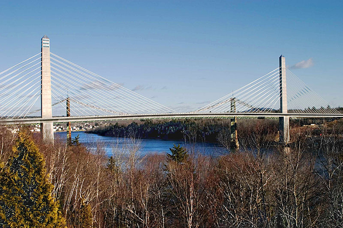 The 447-foot-high Penobscot Narrows Bridge connects Verona Island with the Waldo County town of Prospect over the Penobscot River.