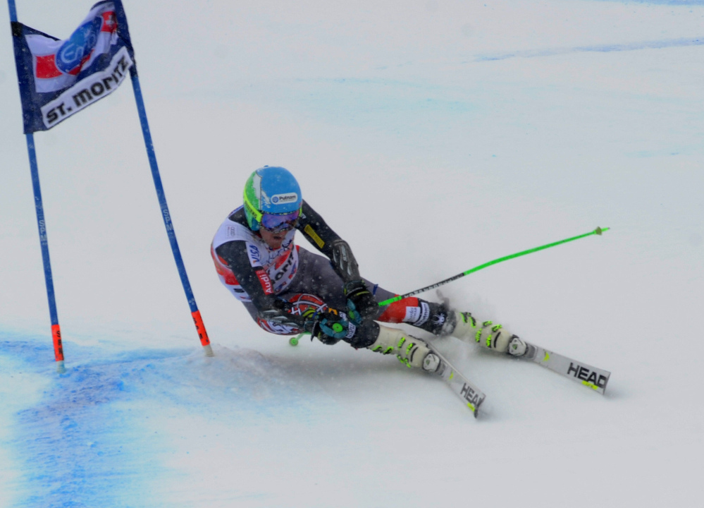 Ted Ligety of the United States speeds down the course during the first run of the World Cup giant slalom in St. Moritz, , Switzerland, on Sunday.