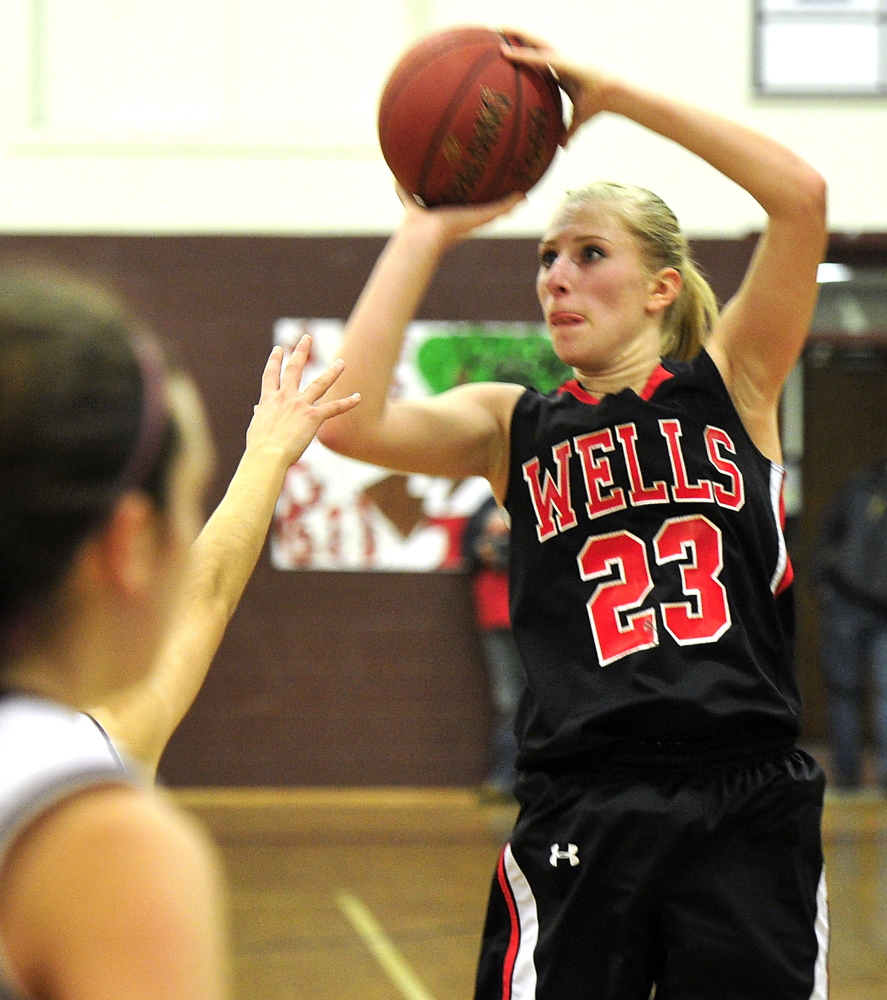 Alison Furness had the hot hand for Wells, making her first four shots and finishing with 20 points. Not too bad for someone who said she was feeling sick the last three days.