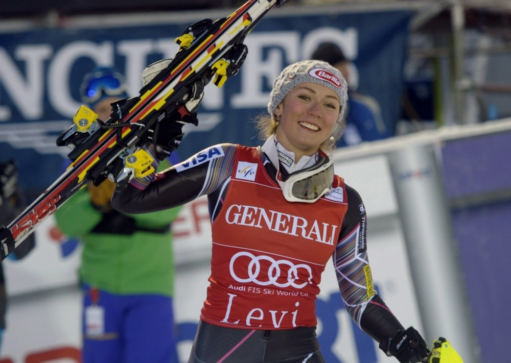 Mikaela Shiffrin reacts after winning the women's slalom Alpine Ski World Cup in Levi, Finnish Lapland, last November.