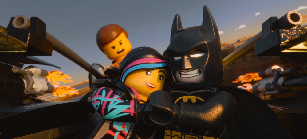 """Characters from """"The Lego Movie,"""" from left, Emmet, voiced by Chris Pratt; Wyldstyle, voiced by Elizabeth Banks; and Batman, voiced by Will Arnett."""