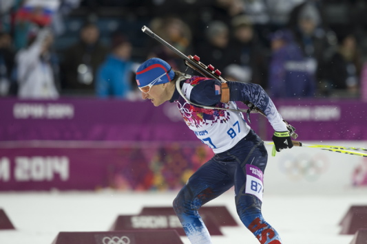 Russell Currier of Stockholm, Maine,competes in Saturday's men's biathlon 10 sprint at the Winter Olympics Krasnaya Polyana, Russia. Currier missed four of his first five shots and finished 61st.