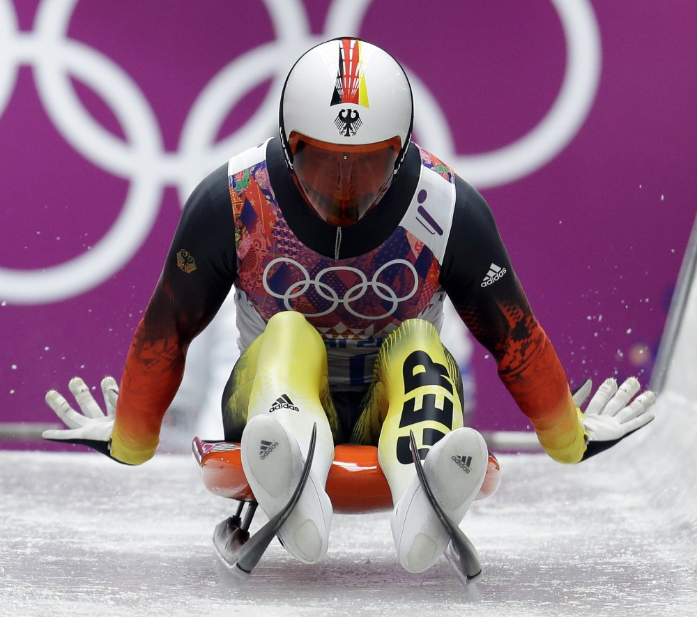 Felix Loch of Germany starts his run during the men's singles luge competition at the 2014 Winter Olympics on Saturday in Krasnaya Polyana, Russia.