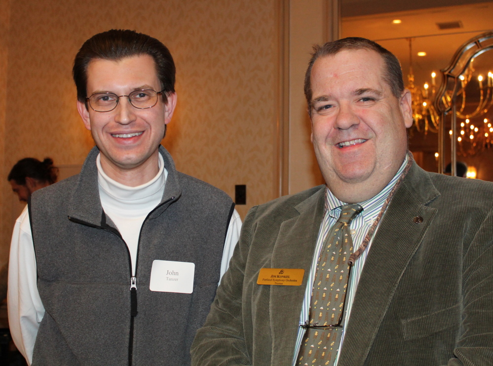 John Tanzer, principal timpanist with the PSO, with trustee Jim Konkel.