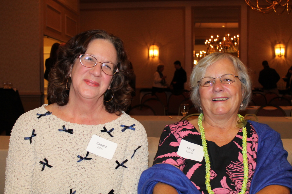 Portland Symphony Orchestra fans Sandra Pablo of Oahu, Hawaii, and Mary Palmer of Kennebunk.