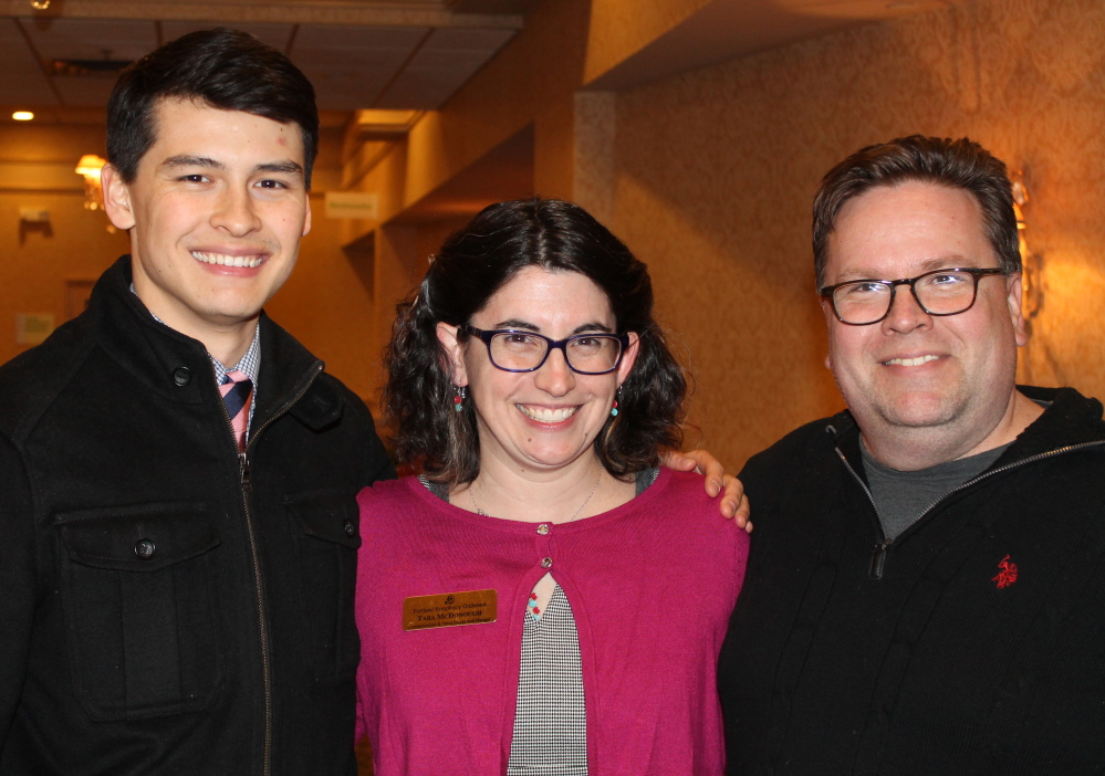 PSO assistant conductor Norman Huynh with Tara McDonough, communications manager, and Joe Boucher, concert manager.
