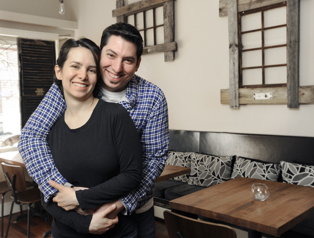Damian Sansonetti and Ilma Lopez, shown at their Portland restaurant Piccolo, always prepare a special dinner for themselves on Valentine's Day, regardless of how late they have to work that night.