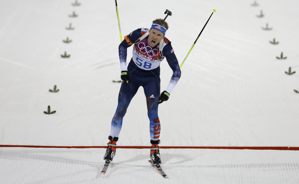 United States' Lowell Bailey crosses the finish line after the men's biathlon 20k individual race.
