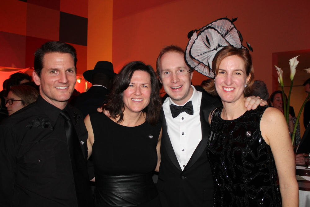 Adam Gardner of Guster and his wife Lauren Sullivan, director and co-founder of Reverb, join Jason Hearst, owner and chief engineer of Hearstudios, and his wife Heather of Camden at the Contemporaries sold out Black & White Bash at the Portland Museum of Art.