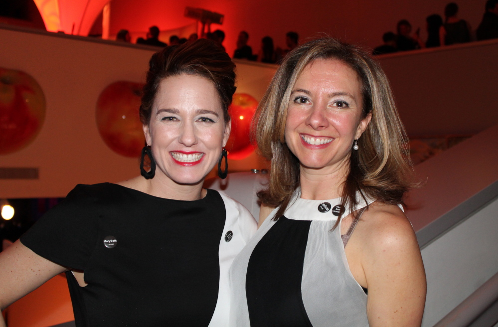 Mary Beth Lorenz, chair of the Contemporaries' Black & White Bash, with fellow steering committee member Celine Frueh.