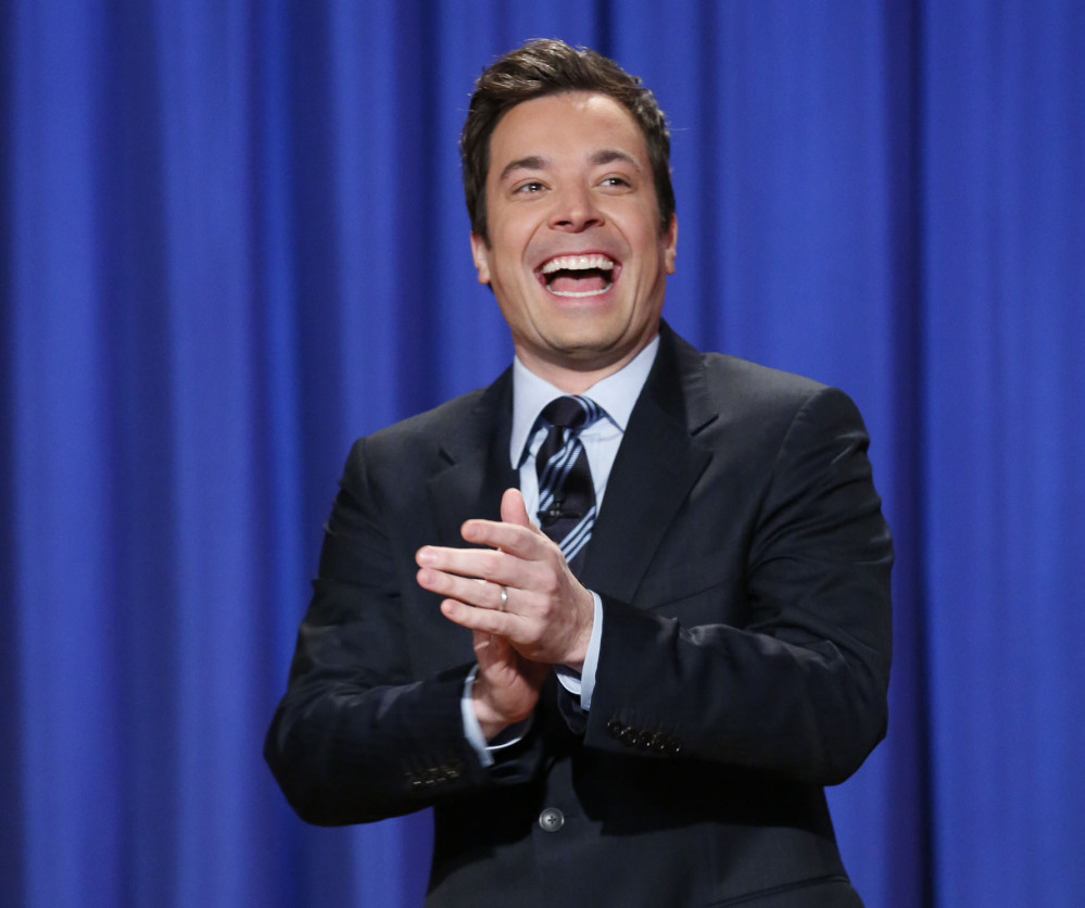 """Jimmy Fallon, host of """"Late Night with Jimmy Fallon,"""" is shown in New York in April in a file photo released by NBC."""