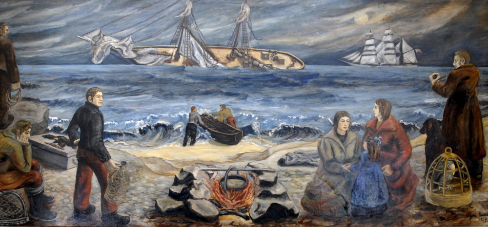 "The 1864 wreck of the British steamship RMS Bohemian is depicted in this mural inside the post office at 15 Cottage Road in South Portland. ""Shipwreck at Night"" was painted in 1939 by Alzira Peirce, the wife of Bangor-born painter Waldo Peirce."