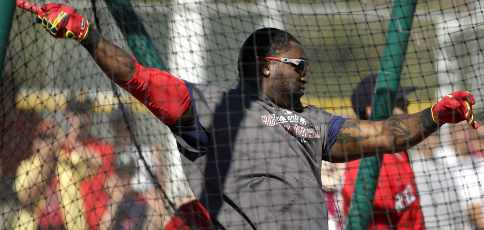 David Ortiz takes his cuts during spring training in Florida, but would like to get his contract situation settled soon.