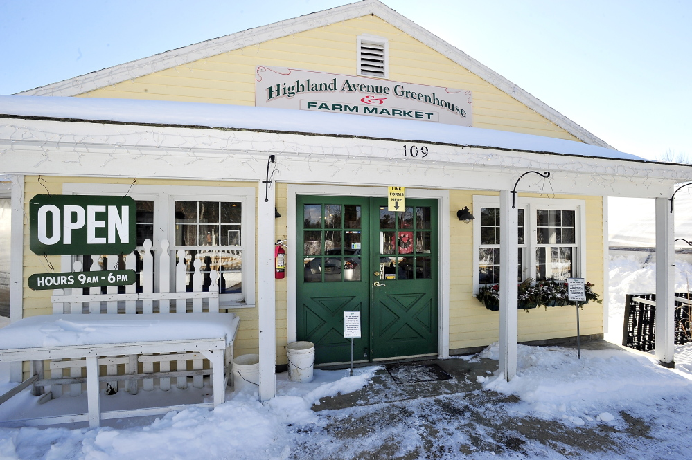 The entrance of Highland Avenue Greenhouse & Farm Market in Scarborough.