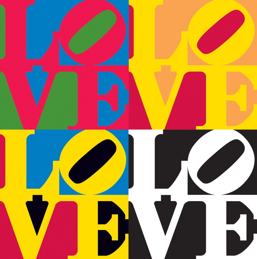"""Pages from """"The Book of Love,"""" 1996 (Edition AP3-15, gift of the artists, 2008), from """"Celebrating LOVE,"""" exploring Robert Indiana's """"LOVE"""" imagery through March 16 at the Farnsworth Art Museum in Rockland."""