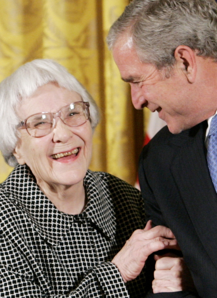 "President George W. Bush greets Harper Lee in 2007. Her ""To Kill a Mockingbird"" is considered a modern classic."