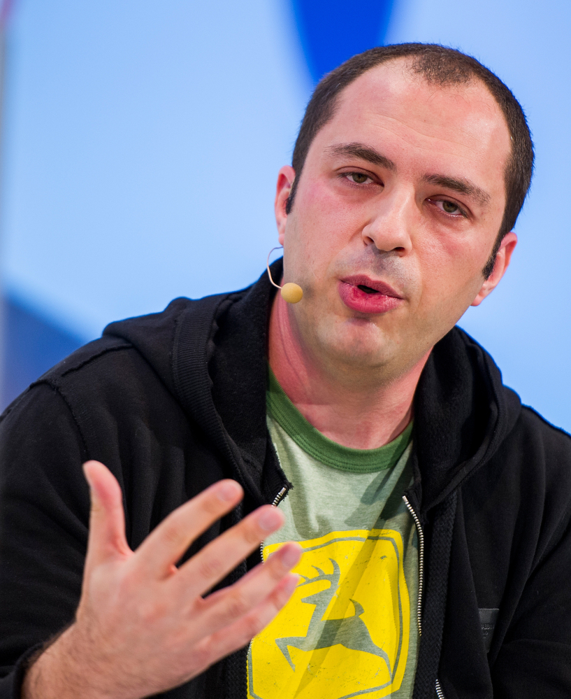 Jan Koum, 38, co-founder of WhatsApp, speaks in Munich.