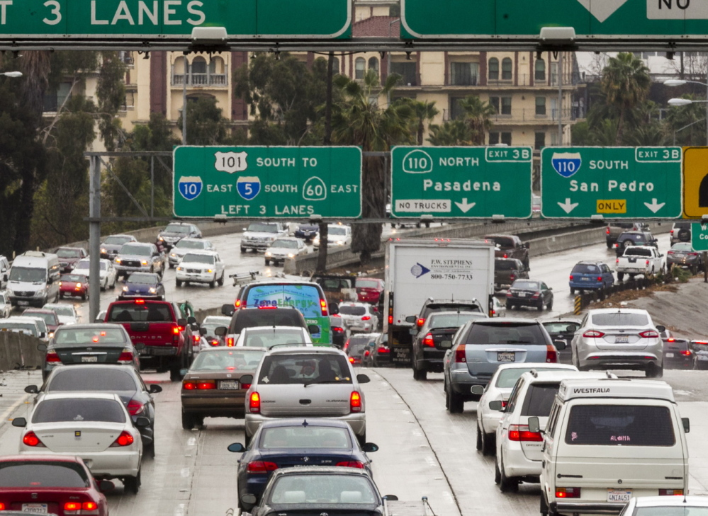 Traffic fills a California highway. Researchers say the nation's older drivers are not making U.S. roads deadlier.
