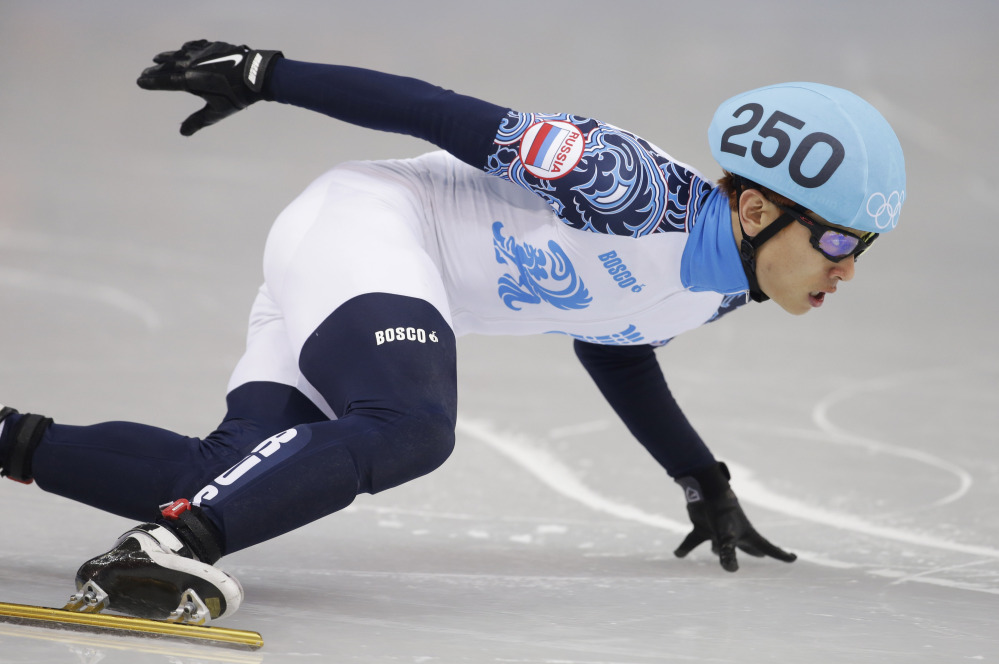 Viktor Ahn of Russia competes in the men's 500-meter short track speedskating final at the Iceberg Skating Palace during the 2014 Winter Olympics on Friday in Sochi, Russia.
