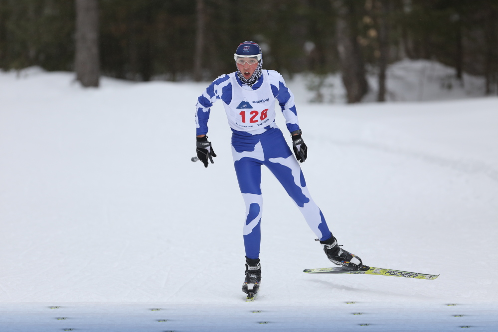 Carter Hall of Yarmouth was unfazed by wind and rain as his first-place finish led the Clippers to a win in the Class B freestyle event Friday at the Sugarloaf Outdoor Center.