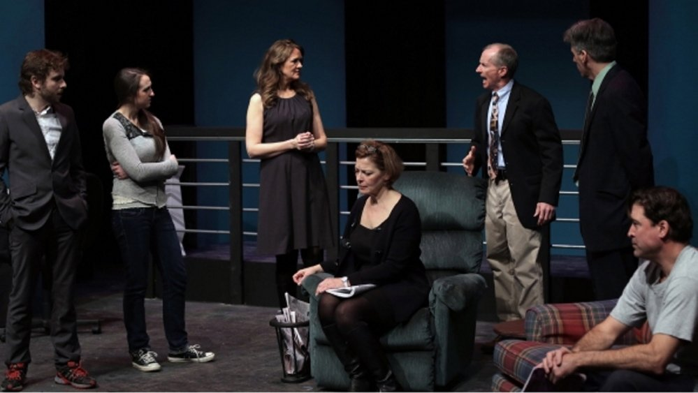 """Kathleen Kimball as Ginger, Laura Houck as Becky, and Wil Kilroy as Steve appear in Good Theater's production of """"Becky's New Car."""""""
