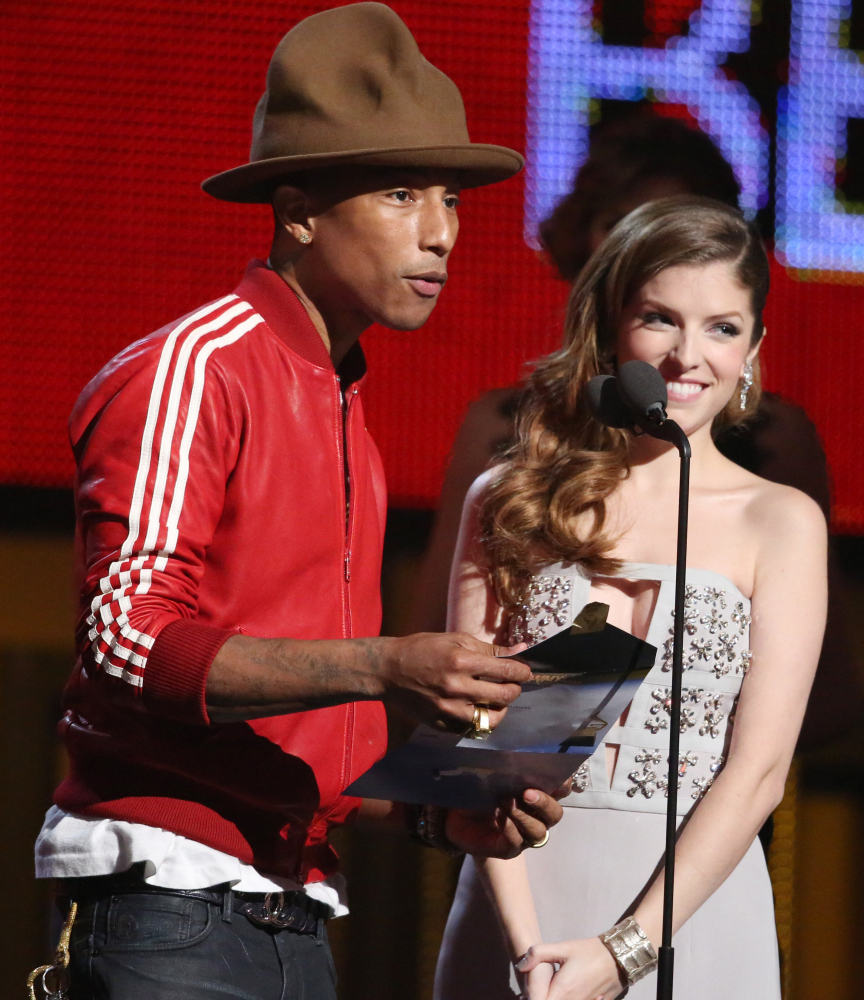 Pharrell Williams, left, and Portland, Maine, actress Anna Kendrick appear at the 56th annual Grammy Awards Los Angeles.