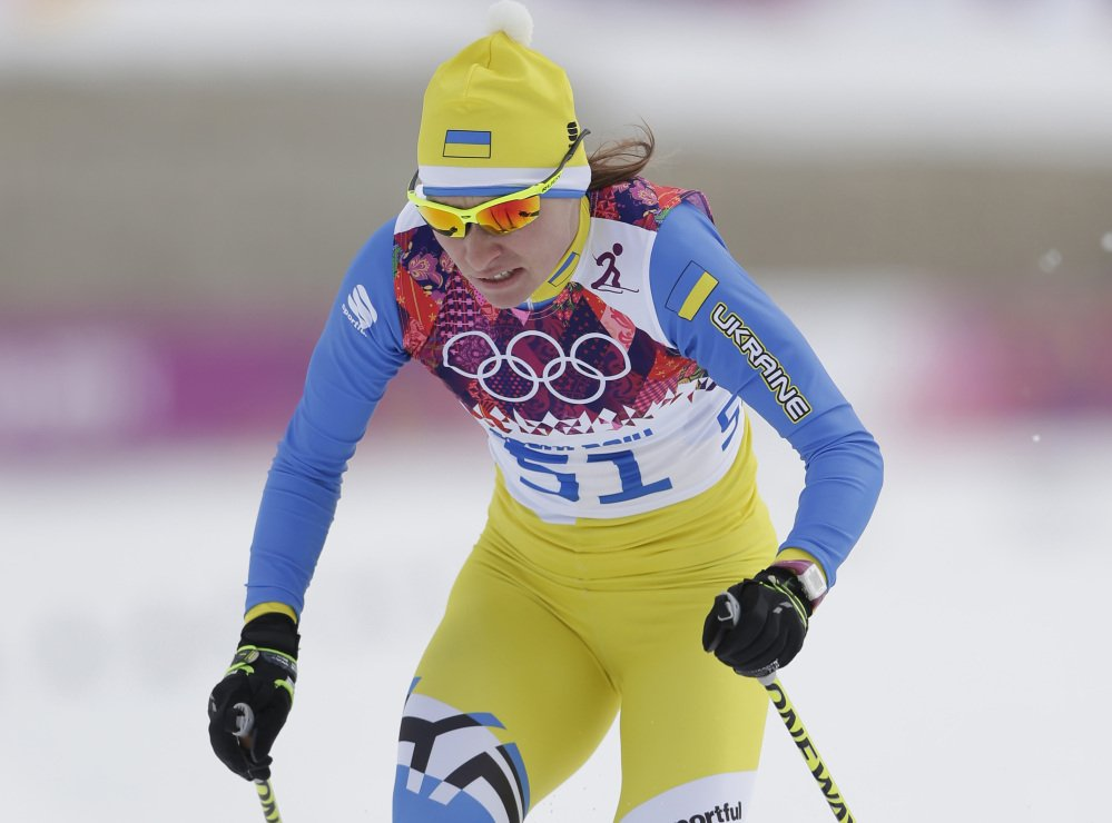 In this Tuesday, Feb. 11, 2014 photo, Marina Lisogor of Ukraine competes in the women's cross-country sprint at the 2014 Winter Olympics in Krasnaya Polyana, Russia. The Ukrainian Olympic Committee said Saturday, Feb. 22, 2014, that Lisogor has failed a doping test.