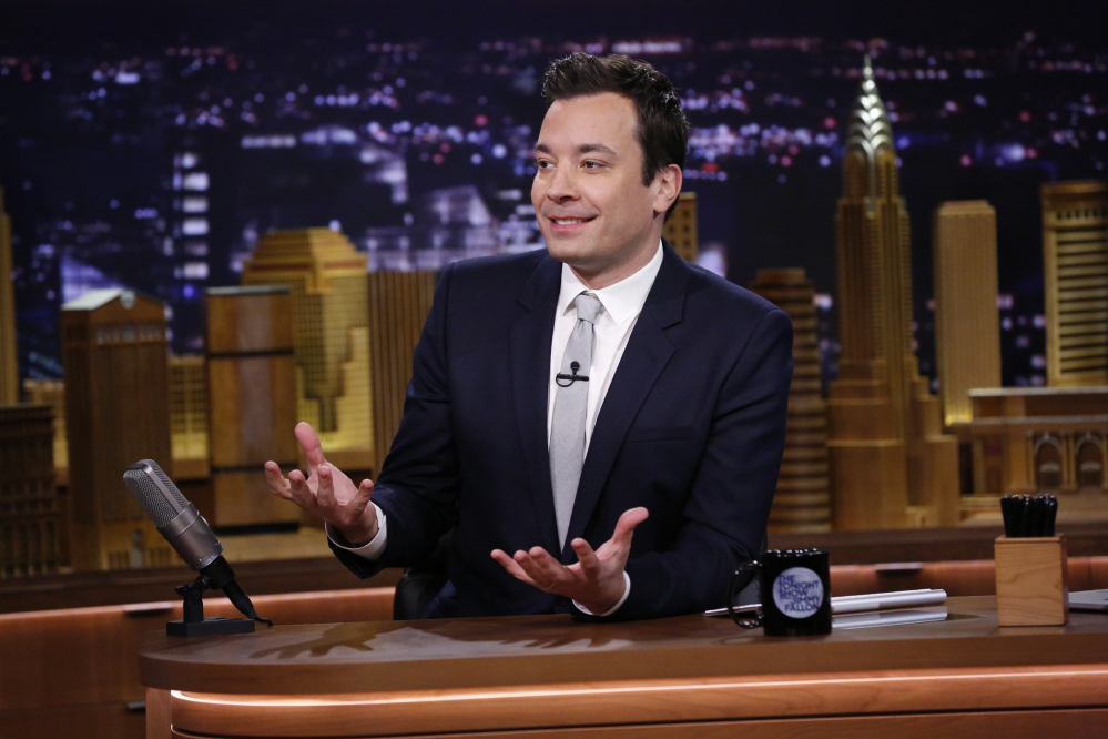 """This photo released by NBC shows host Jimmy Fallon during """"The Tonight Show Starring Jimmy Fallon,"""" in New York."""
