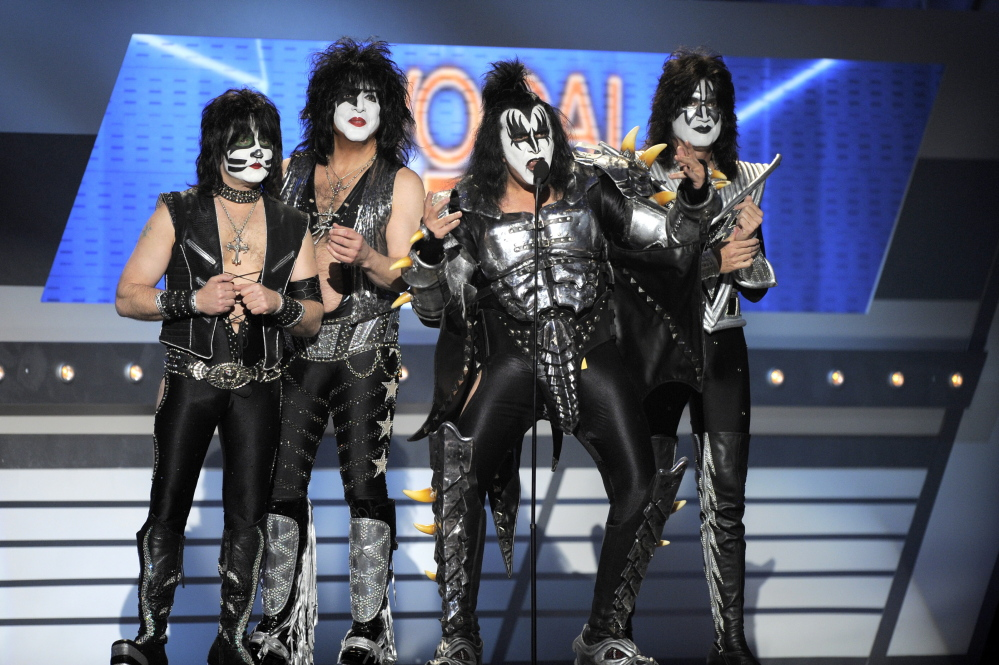 KISS, from left, Eric Singer, Paul Stanley, Gene Simmons and Tommy Thayer, won't play when the band is inducted into the Rock and Roll Hall of Fame on April 10.