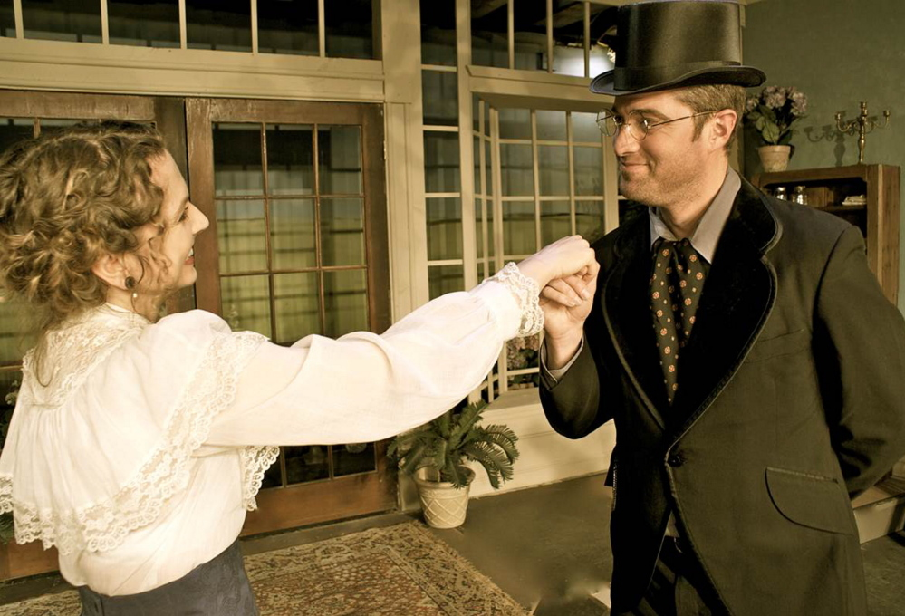 """Jennifer Porter and Brian Chamberlain in a scene from the Saco River Theatre's 2013 production of """"Maiden's Progeny, an Afternoon with Mary Cassatt, 1906."""" SIS Bank has given the theater $7,500 to support the organization's theatrical and artistic presentations."""