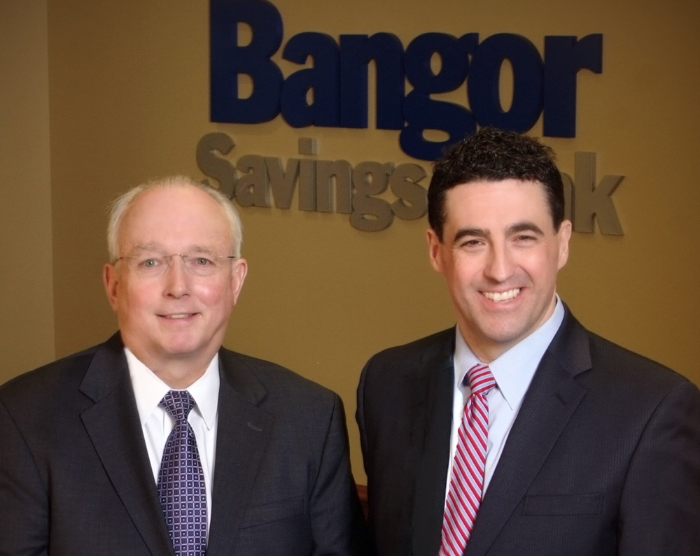 James Conlon, left, plans to retire as president and CEO of Bangor Savings Bank in June 2015, and Robert Montgomery-Rice, right, will take over.