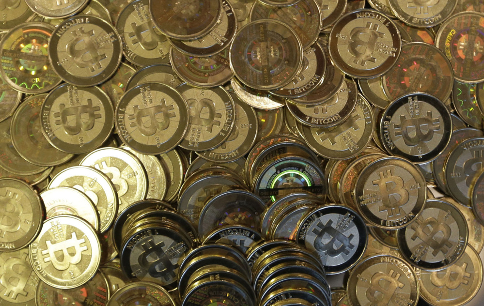 Bitcoin tokens are shown in Sandy, Utah. Bitcoins are a virtual currency.
